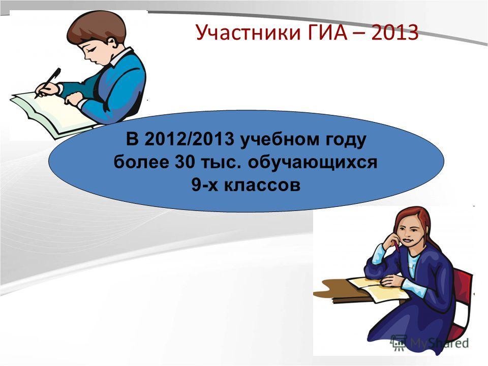 Участники ГИА – 2013 В 2012/2013 учебном году более 30 тыс. обучающихся 9-х классов