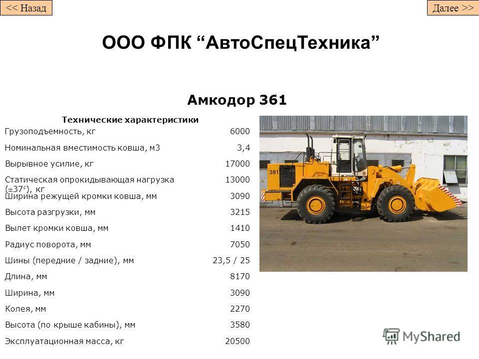 Амкодор 361 Технические характеристики Грузоподъемность, кг6000 Номинальная вместимость ковша, м33,4 Вырывное усилие, кг17000 Статическая опрокидывающая нагрузка (±37°), кг 13000 Ширина режущей кромки ковша, мм3090 Высота разгрузки, мм3215 Вылет кром