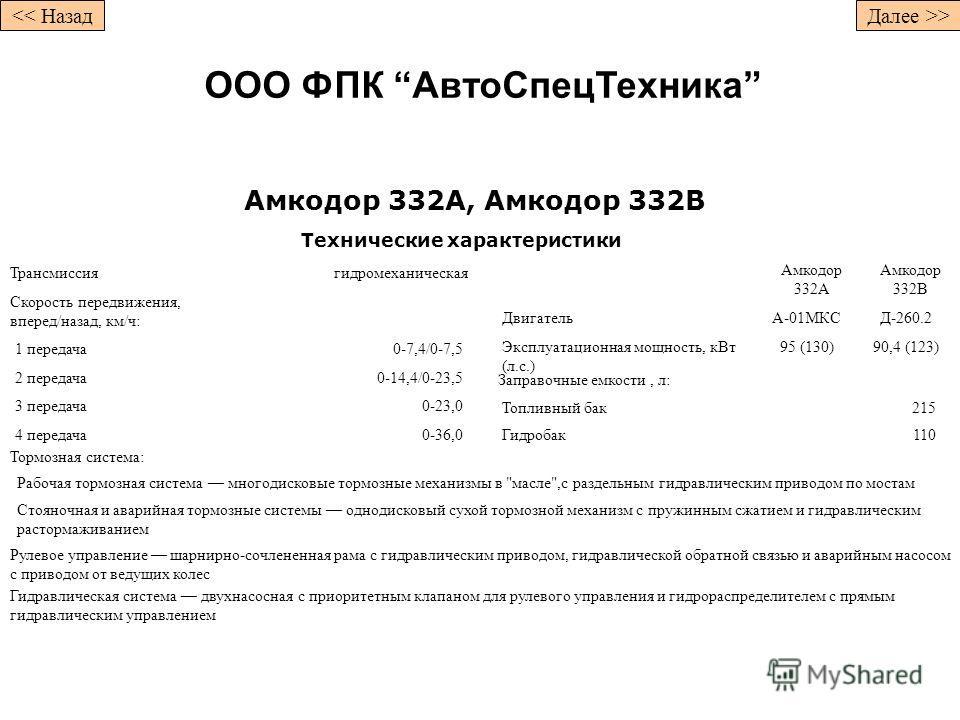 Амкодор 332А, Амкодор 332В Технические характеристики Трансмиссиягидромеханическая Скорость передвижения, вперед/назад, км/ч: 1 передача0-7,4/0-7,5 2 передача0-14,4/0-23,5 3 передача0-23,0 4 передача0-36,0 Амкодор 332А Амкодор 332В ДвигательA-01МКСД-