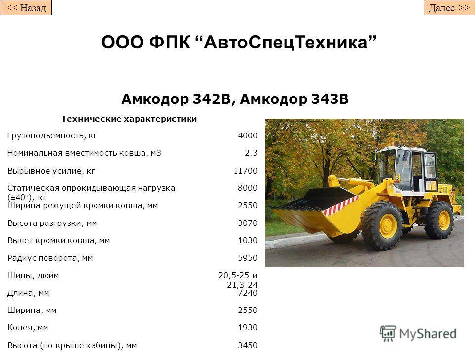 Амкодор 342B, Амкодор 343B Технические характеристики Грузоподъемность, кг4000 Номинальная вместимость ковша, м32,3 Вырывное усилие, кг11700 Статическая опрокидывающая нагрузка (±40°), кг 8000 Ширина режущей кромки ковша, мм2550 Высота разгрузки, мм3