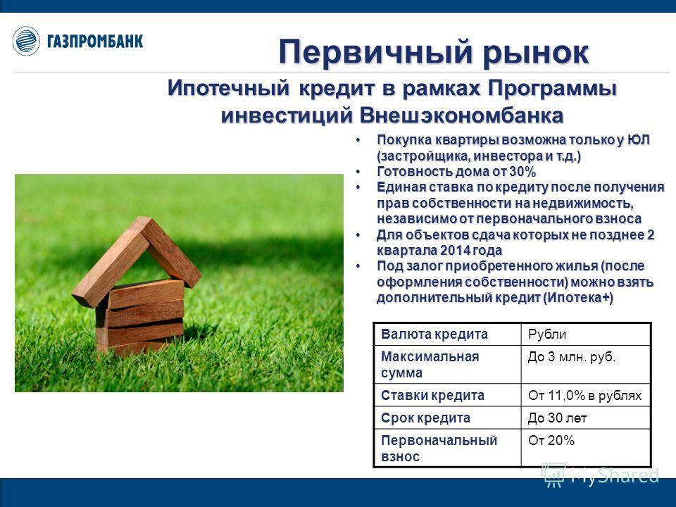 Первичный рынок Покупка квартиры возможна только у ЮЛ (застройщика, инвестора и т.д.)Покупка квартиры возможна только у ЮЛ (застройщика, инвестора и т.д.) Готовность дома от 30%Готовность дома от 30% Единая ставка по кредиту после получения прав собс