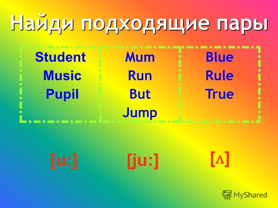 [ju:] 1) Если после «U» стоят согласная + гласная буквы, то «U» произносится [ju:] Student, music, pupil. 2) Если в конце слова стоит любая гласная буква, то «U» в слове произносится [u:] Blue, rule, true. 3) Если в конце слова стоит любая coгласная