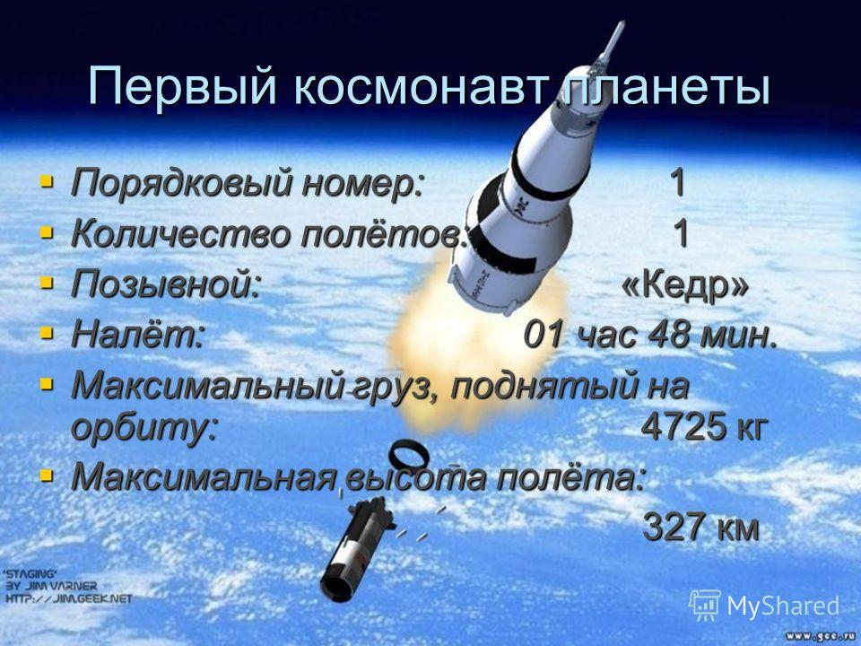 Первый космонавт планеты Порядковый номер: 1 Количество полётов: 1 Позывной: «Кедр» Налёт: 01 час 48 мин. Максимальный груз, поднятый на орбиту: 4725 кг Максимальная высота полёта: 327 км