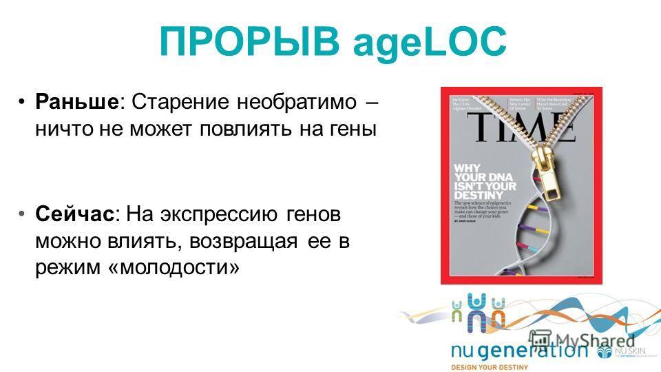 Раньше: Старение необратимо – ничто не может повлиять на гены Сейчас: На экспрессию генов можно влиять, возвращая ее в режим «молодости» ПРОРЫВ ageLOC