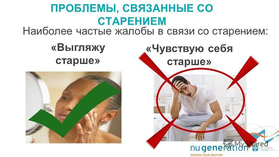 ПРОБЛЕМЫ, СВЯЗАННЫЕ СО СТАРЕНИЕМ «Выгляжу старше» «Чувствую себя старше» Наиболее частые жалобы в связи со старением: