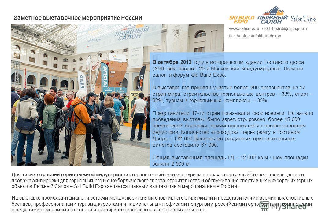 В октябре 2013 году в историческом здании Гостиного двора (XVIII век) прошел 20-й Московский международный Лыжный салон и форум Ski Build Expo. В выставке год приняли участие более 200 экспонентов из 17 стран мира: строительство горнолыжных центров –