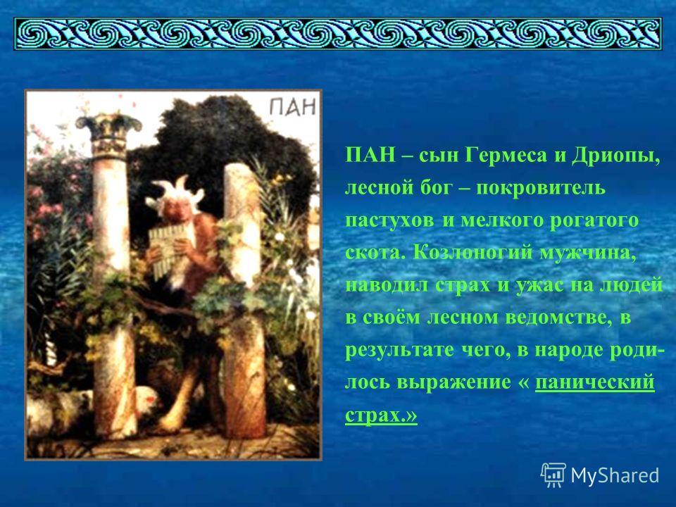 ПАН – сын Гермеса и Дриопы, лесной бог – покровитель пастухов и мелкого рогатого скота. Козлоногий мужчина, наводил страх и ужас на людей в своём лесном ведомстве, в результате чего, в народе роди- лось выражение « панический страх.»