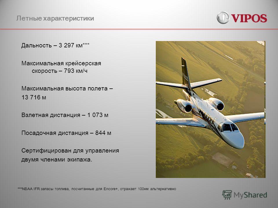 Летные характеристики Дальность – 3 297 км*** Максимальная крейсерская скорость – 793 км/ч Максимальная высота полета – 13 716 м Взлетная дистанция – 1 073 м Посадочная дистанция – 844 м Сертифицирован для управления двумя членами экипажа. ***NBAA IF