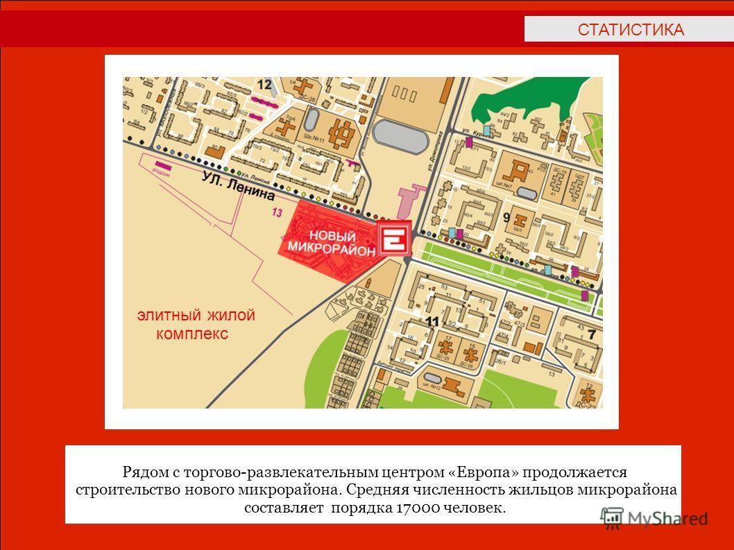 СТАТИСТИКА Рядом с торгово-развлекательным центром «Европа» продолжается cтроительство нового микрорайона. Средняя численность жильцов микрорайона составляет порядка 17000 человек. элитный жилой комплекс