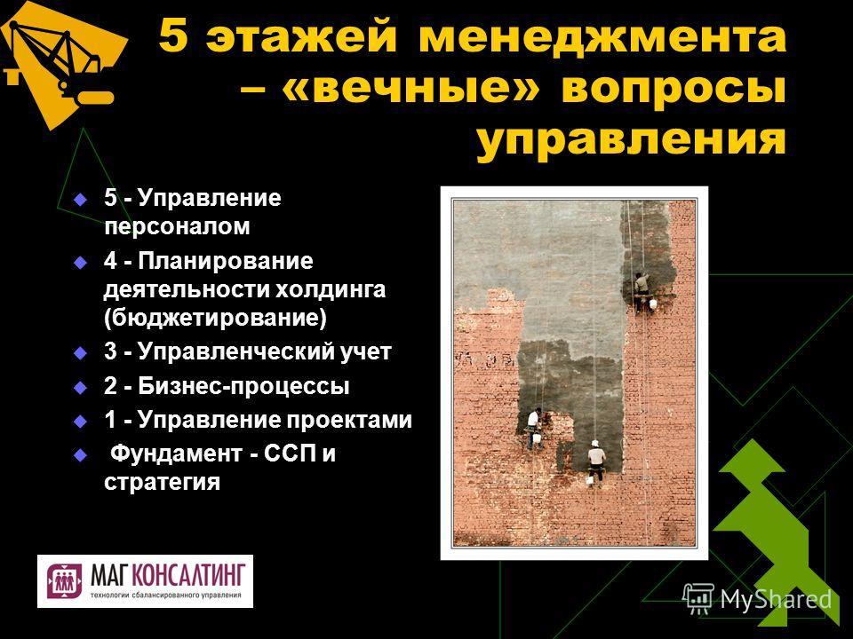 5 этажей менеджмента – «вечные» вопросы управления 5 - Управление персоналом 4 - Планирование деятельности холдинга (бюджетирование) 3 - Управленческий учет 2 - Бизнес-процессы 1 - Управление проектами Фундамент - ССП и стратегия
