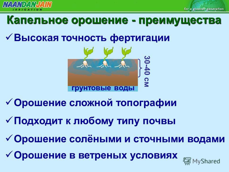 Высокая точность фертигации Орошение сложной топографии Подходит к любому типу почвы Орошение солёными и сточными водами Орошение в ветреных условиях 30-40 см грунтовые воды