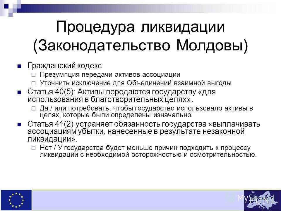 Процедура ликвидации (Законодательство Молдовы) Гражданский кодекс Презумпция передачи активов ассоциации Уточнить исключение для Объединений взаимной выгоды Статья 40(5): Активы передаются государству «для использования в благотворительных целях». Д