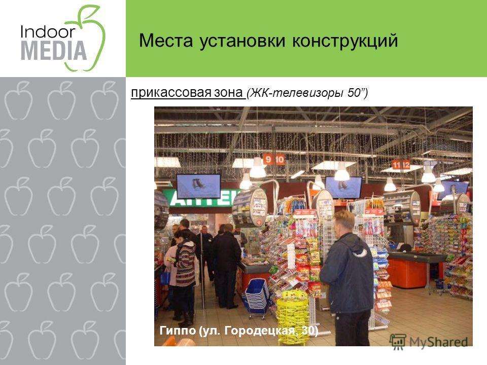 прикассовая зона (ЖК-телевизоры 50) Гиппо (ул. Городецкая, 30) Места установки конструкций