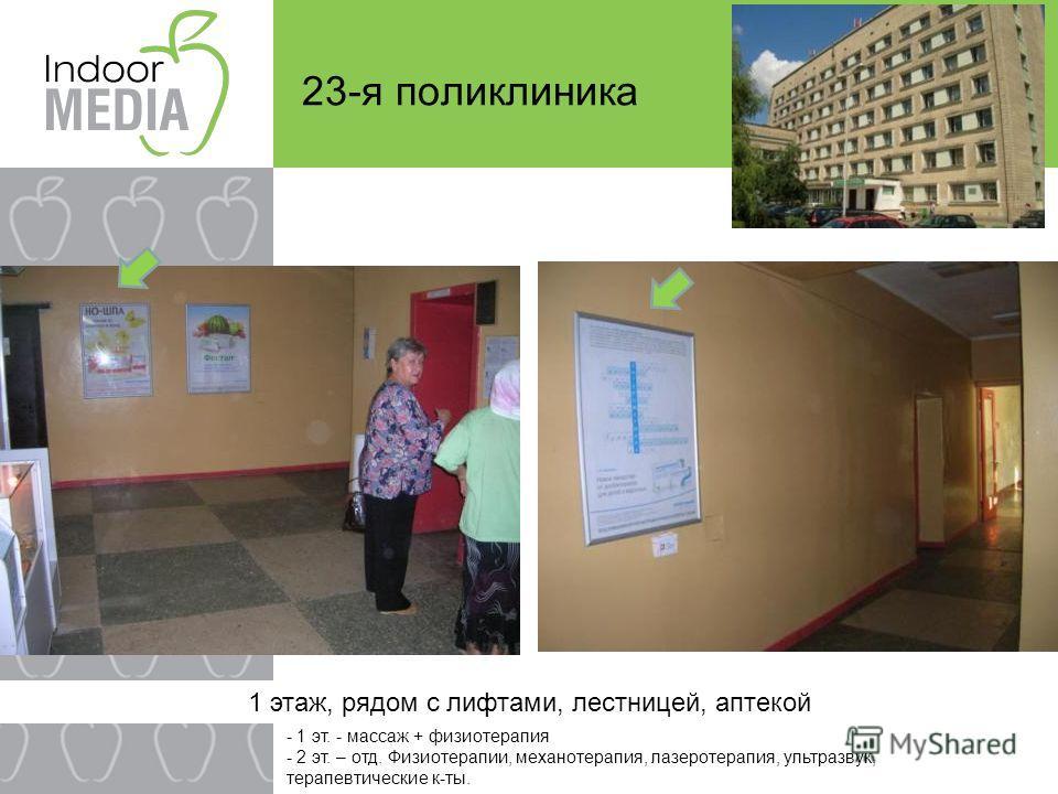 23-я поликлиника 1 этаж, рядом с лифтами, лестницей, аптекой - 1 эт. - массаж + физиотерапия - 2 эт. – отд. Физиотерапии, механотерапия, лазеротерапия, ультразвук, терапевтические к-ты.