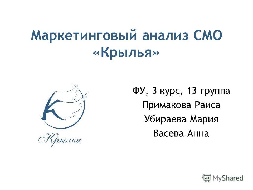 Маркетинговый анализ СМО «Крылья» ФУ, 3 курс, 13 группа Примакова Раиса Убираева Мария Васева Анна