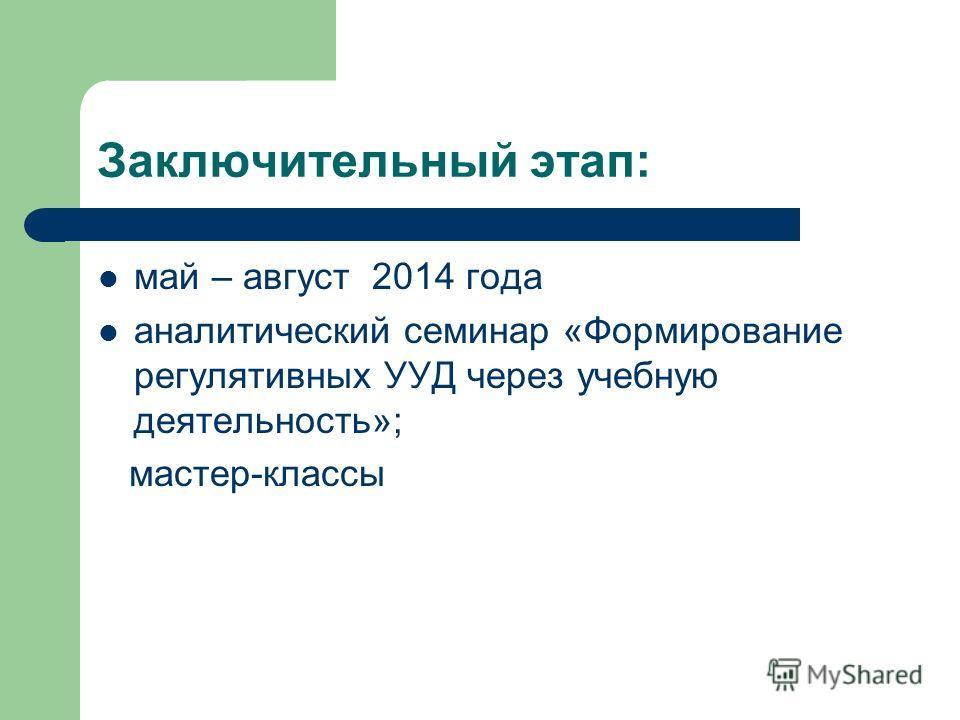 Заключительный этап: май – август 2014 года аналитический семинар «Формирование регулятивных УУД через учебную деятельность»; мастер-классы