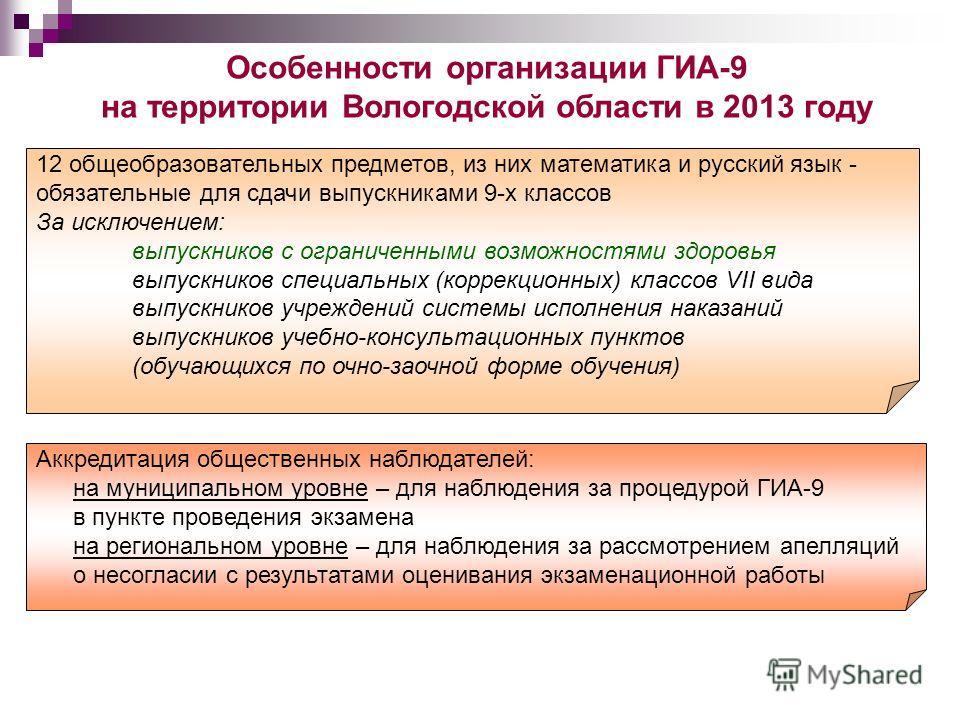 * Особенности организации ГИА-9 на территории Вологодской области в 2013 году 12 общеобразовательных предметов, из них математика и русский язык - обязательные для сдачи выпускниками 9-х классов За исключением: выпускников с ограниченными возможностя