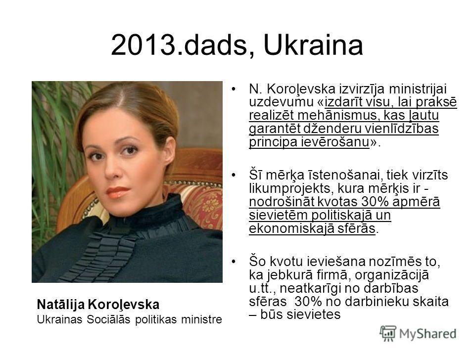 2013.dads, Ukraina N. Koroļevska izvirzīja ministrijai uzdevumu «izdarīt visu, lai praksē realizēt mehānismus, kas ļautu garantēt dženderu vienlīdzības principa ievērošanu». Šī mērķa īstenošanai, tiek virzīts likumprojekts, kura mērķis ir - nodrošinā