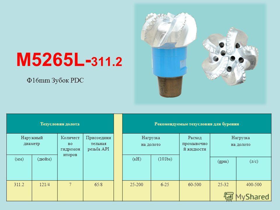 M5265L- 311.2 Техусловия долота Рекомендуемые техусловия для бурения Наружный диаметр Количест во гидромон иторов Присоедини тельная резьба API Нагрузка на долото Расход промывочно й жидкости Нагрузка на долото (мм)(дюйм)(кН)(101bs) (gpm)(л/с) 311.21