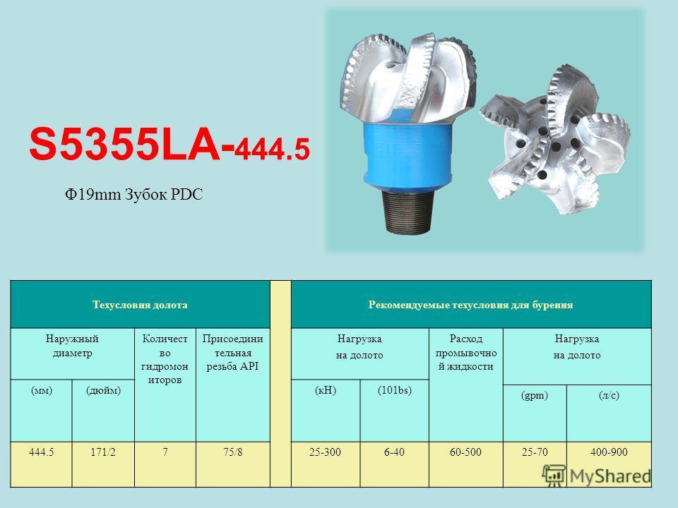 S5355LA- 444.5 Техусловия долота Рекомендуемые техусловия для бурения Наружный диаметр Количест во гидромон иторов Присоедини тельная резьба API Нагрузка на долото Расход промывочно й жидкости Нагрузка на долото (мм)(дюйм)(кН)(101bs) (gpm)(л/с) 444.5