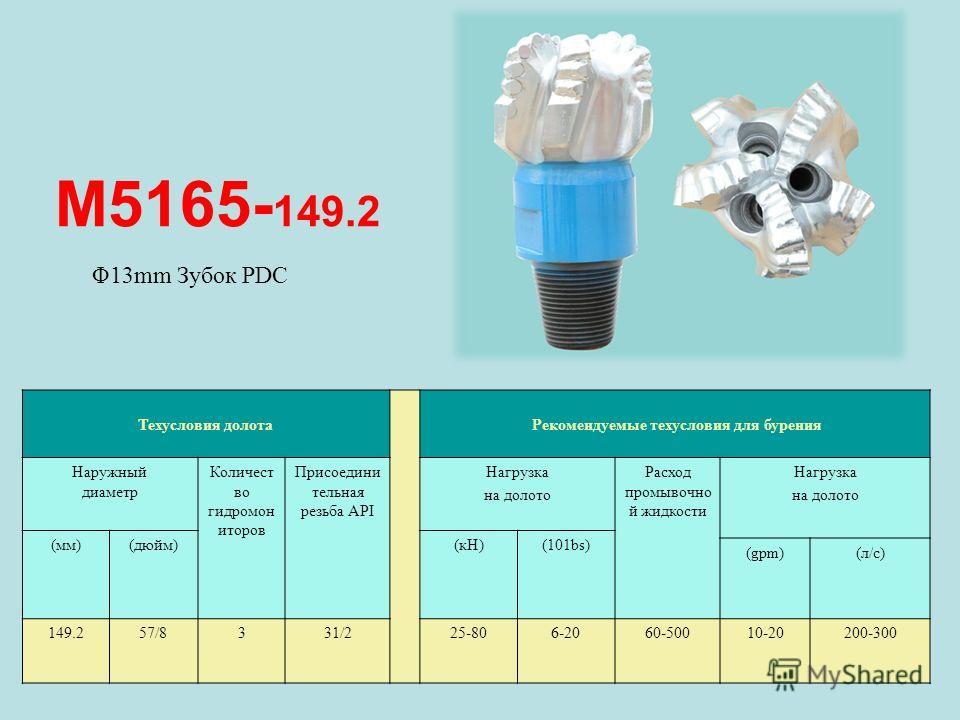 M5165- 149.2 Техусловия долота Рекомендуемые техусловия для бурения Наружный диаметр Количест во гидромон иторов Присоедини тельная резьба API Нагрузка на долото Расход промывочно й жидкости Нагрузка на долото (мм)(дюйм)(кН)(101bs) (gpm)(л/с) 149.257