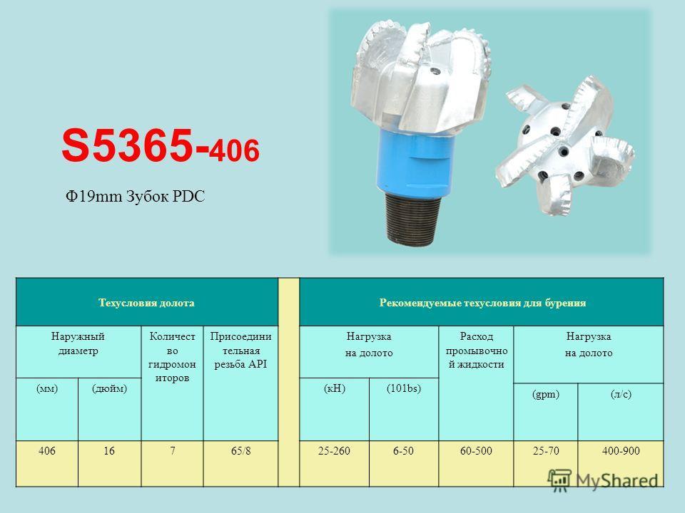 S5365- 406 Техусловия долота Рекомендуемые техусловия для бурения Наружный диаметр Количест во гидромон иторов Присоедини тельная резьба API Нагрузка на долото Расход промывочно й жидкости Нагрузка на долото (мм)(дюйм)(кН)(101bs) (gpm)(л/с) 40616765/