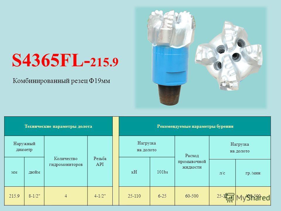 S4365FL- 215.9 Технические параметры долота Рекомендуемые параметры бурения Наружный диаметр Количество гидромониторов Резьба API Нагрузка на долото Расход промывочной жидкости Нагрузка на долото ммдюймкН101bs л/сл/сгр./мин 215.98-1/2