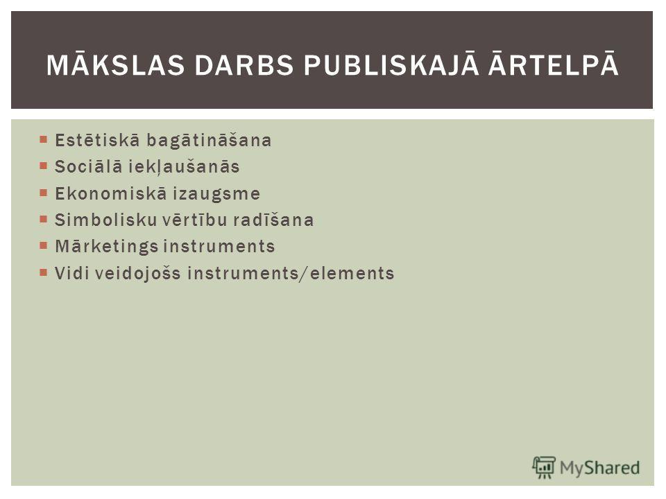 Estētiskā bagātināšana Sociālā iekļaušanās Ekonomiskā izaugsme Simbolisku vērtību radīšana Mārketings instruments Vidi veidojošs instruments/elements MĀKSLAS DARBS PUBLISKAJĀ ĀRTELPĀ
