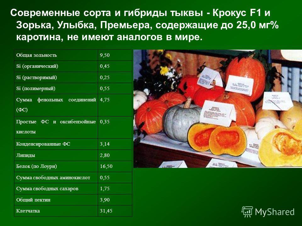 Современные сорта и гибриды тыквы - Крокус F1 и Зорька, Улыбка, Премьера, содержащие до 25,0 мг% каротина, не имеют аналогов в мире. Общая зольность9,50 Si (органический)0,45 Si (растворимый)0,25 Si (полимерный)0,55 Сумма фенольных соединений (ФС) 4,