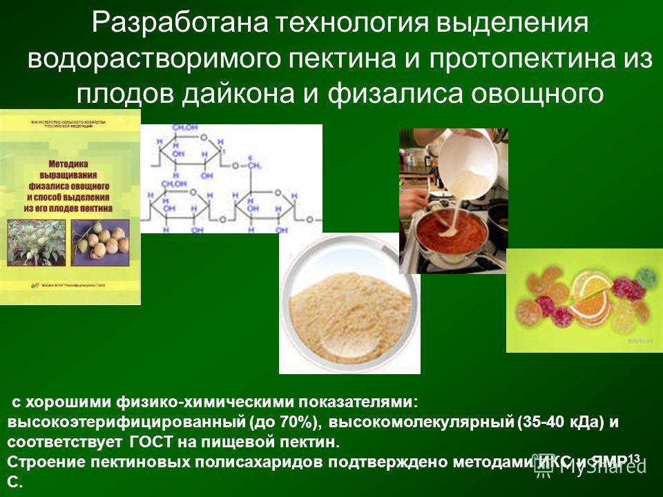 Разработана технология выделения водорастворимого пектина и протопектина из плодов дайкона и физалиса овощного с хорошими физико-химическими показателями: высокоэтерифицированный (до 70%), высокомолекулярный (35-40 кДа) и соответствует ГОСТ на пищево