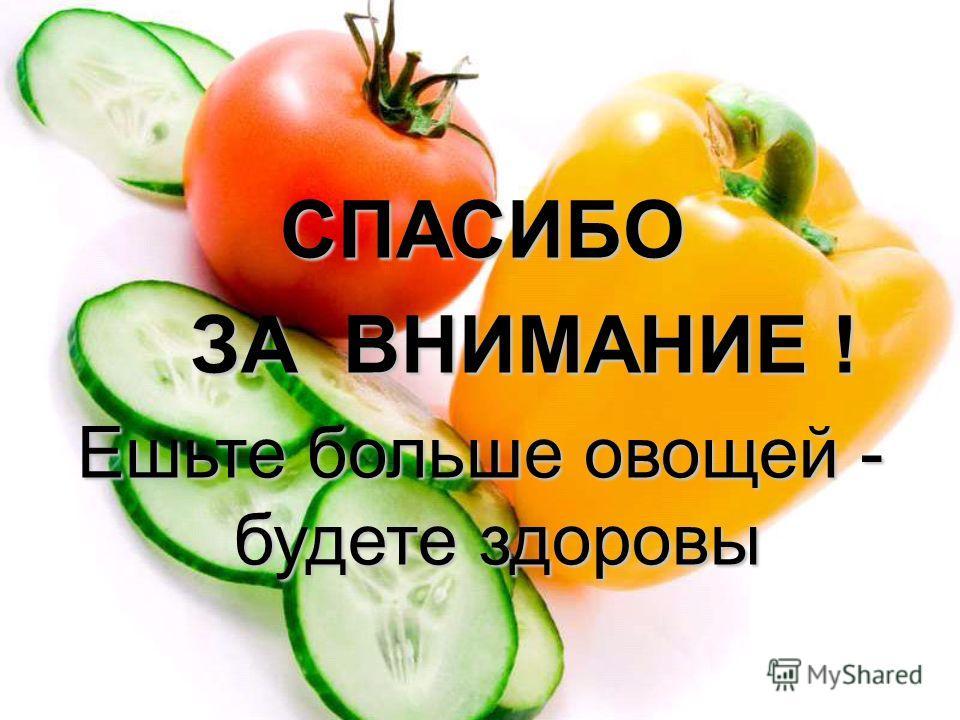 СПАСИБО СПАСИБО ЗА ВНИМАНИЕ ! ЗА ВНИМАНИЕ ! Ешьте больше овощей - будете здоровы
