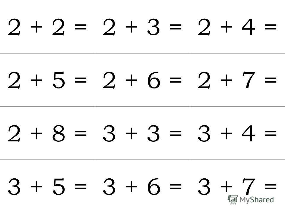 2 + 2 =2 + 3 =2 + 4 = 2 + 5 =2 + 6 =2 + 7 = 2 + 8 =3 + 3 =3 + 4 = 3 + 5 =3 + 6 =3 + 7 =