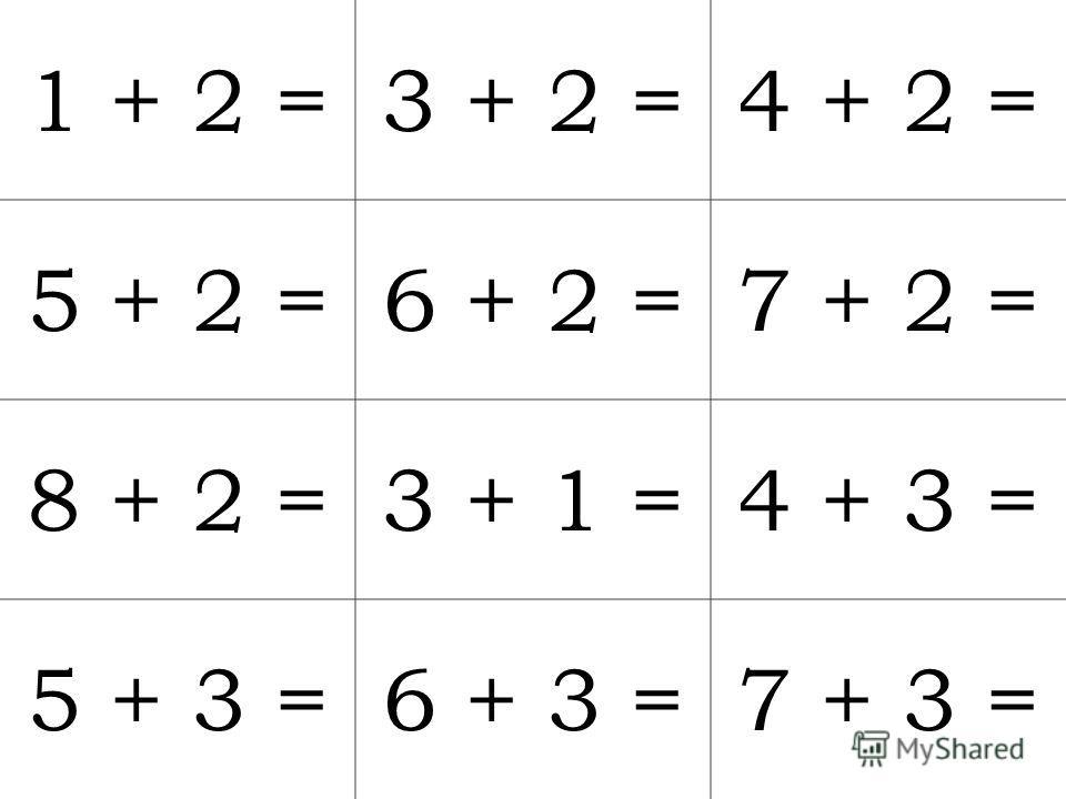 1 + 2 =3 + 2 =4 + 2 = 5 + 2 =6 + 2 =7 + 2 = 8 + 2 =3 + 1 =4 + 3 = 5 + 3 =6 + 3 =7 + 3 =