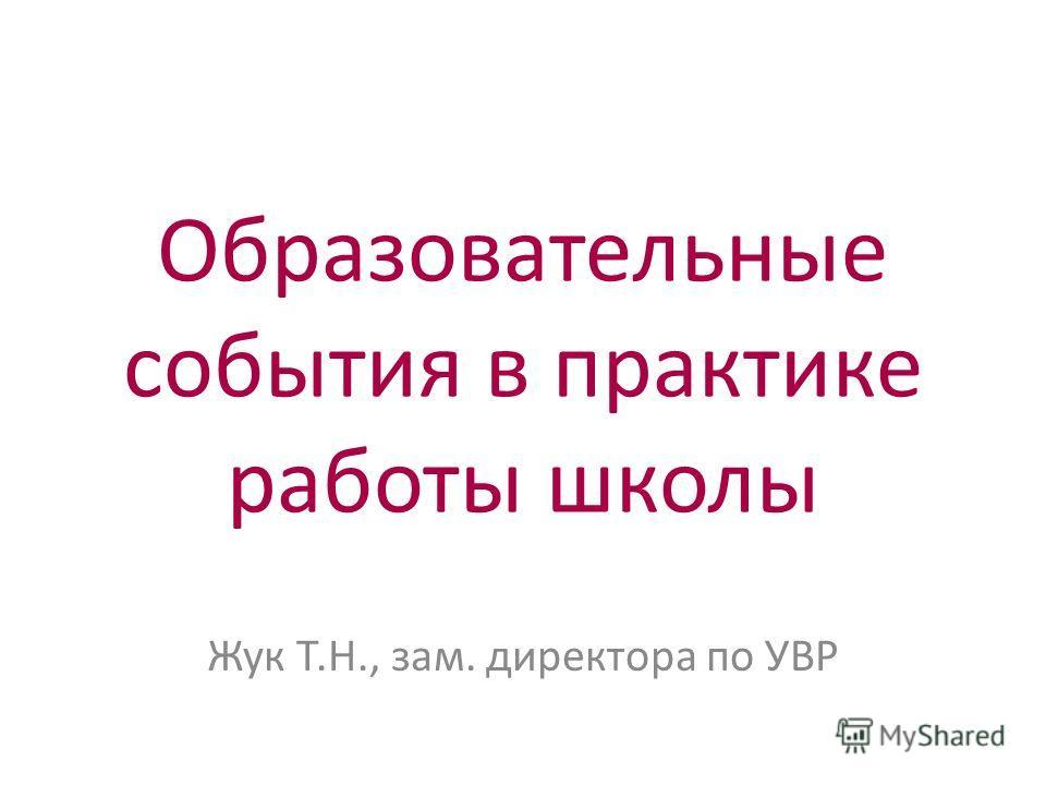 Образовательные события в практике работы школы Жук Т.Н., зам. директора по УВР