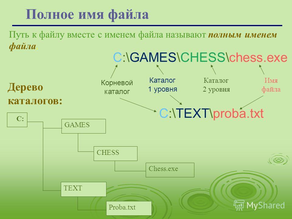 Путь к файлу вместе с именем файла называют полным именем файла. С:\GAMES\CHESS\chess.exe С:\ТEXT\proba.txt Корневой каталог Каталог 1 уровня Каталог 2 уровня Имя файла С: GAMES Chess.exe CHESS TEXT Proba.txt Дерево каталогов:
