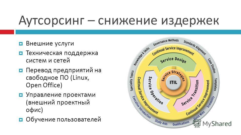 Аутсорсинг – снижение издержек Внешние услуги Техническая поддержка систем и сетей Перевод предприятий на свободное ПО (Linux, Open Office) Управление проектами ( внешний проектный офис ) Обучение пользователей