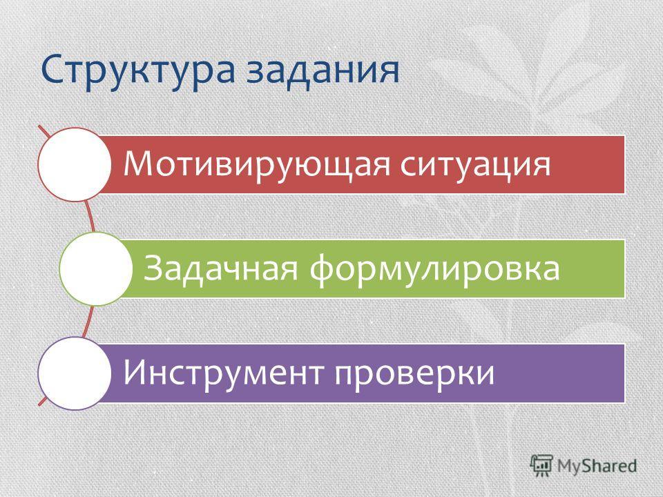 Структура задания Мотивирующая ситуация Задачная формулировка Инструмент проверки