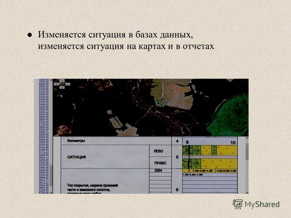 Изменяется ситуация в базах данных, изменяется ситуация на картах и в отчетах