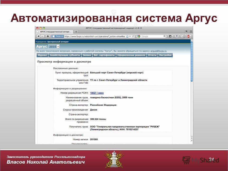 Заместитель руководителя Россельхознадзора Власов Николай Анатольевич Автоматизированная система Аргус 24