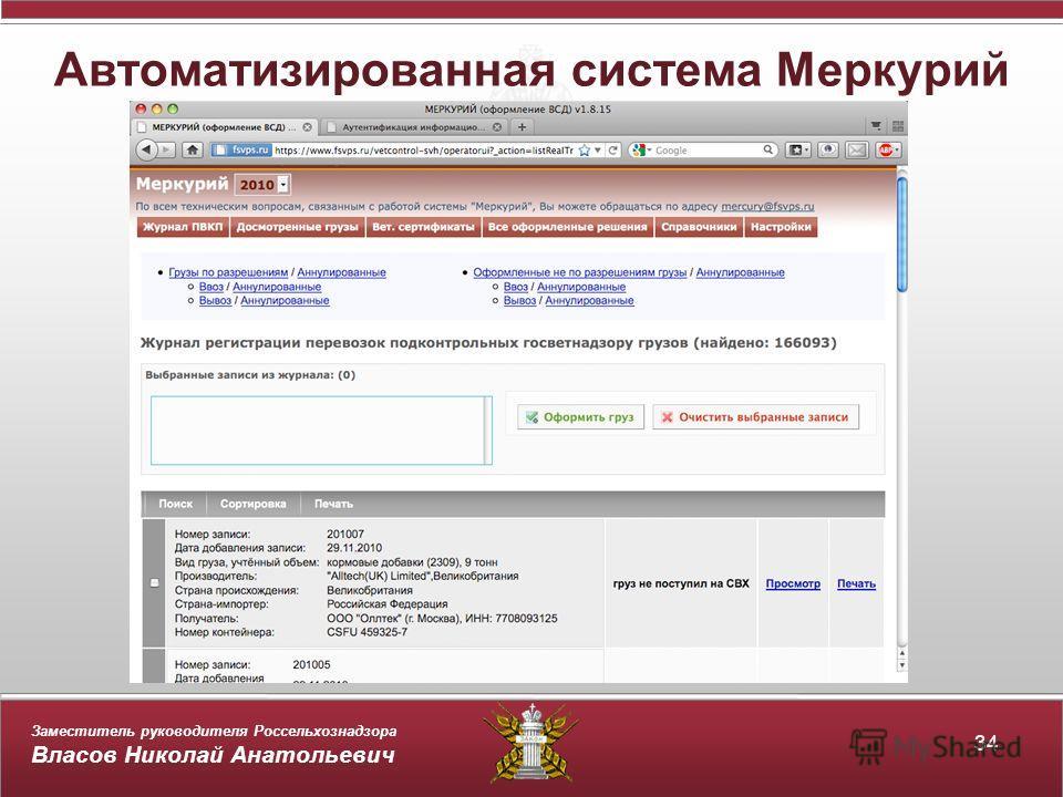 Заместитель руководителя Россельхознадзора Власов Николай Анатольевич Автоматизированная система Меркурий 34
