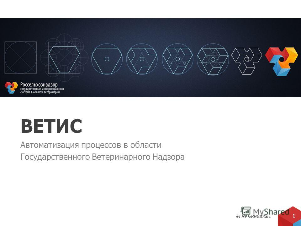ФГБУ «ВНИИЗЖ» 1 ВЕТИС Автоматизация процессов в области Государственного Ветеринарного Надзора