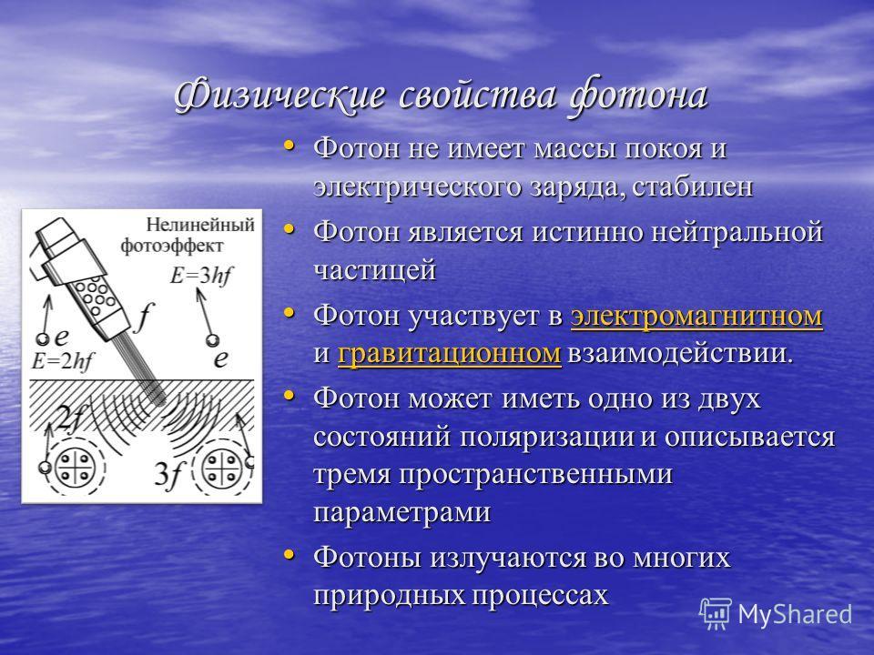 Физические свойства фотона Фотон не имеет массы покоя и электрического заряда, стабилен Фотон не имеет массы покоя и электрического заряда, стабилен Фотон является истинно нейтральной частицей Фотон является истинно нейтральной частицей Фотон участву