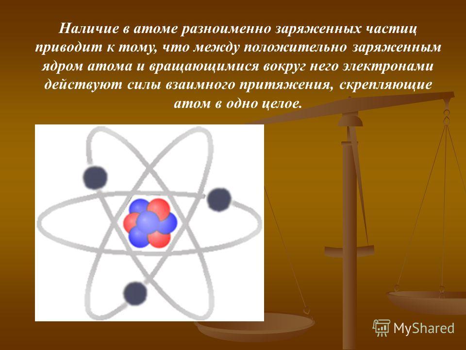 Наличие в атоме разноименно заряженных частиц приводит к тому, что между положительно заряженным ядром атома и вращающимися вокруг него электронами действуют силы взаимного притяжения, скрепляющие атом в одно целое.