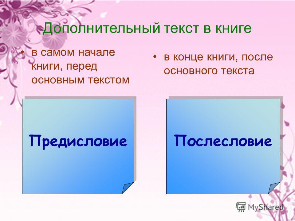 Дополнительный текст в книге в самом начале книги, перед основным текстом в конце книги, после основного текста Послесловие Предисловие