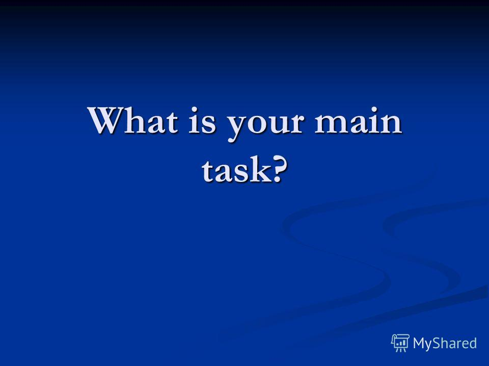 What is your main task?