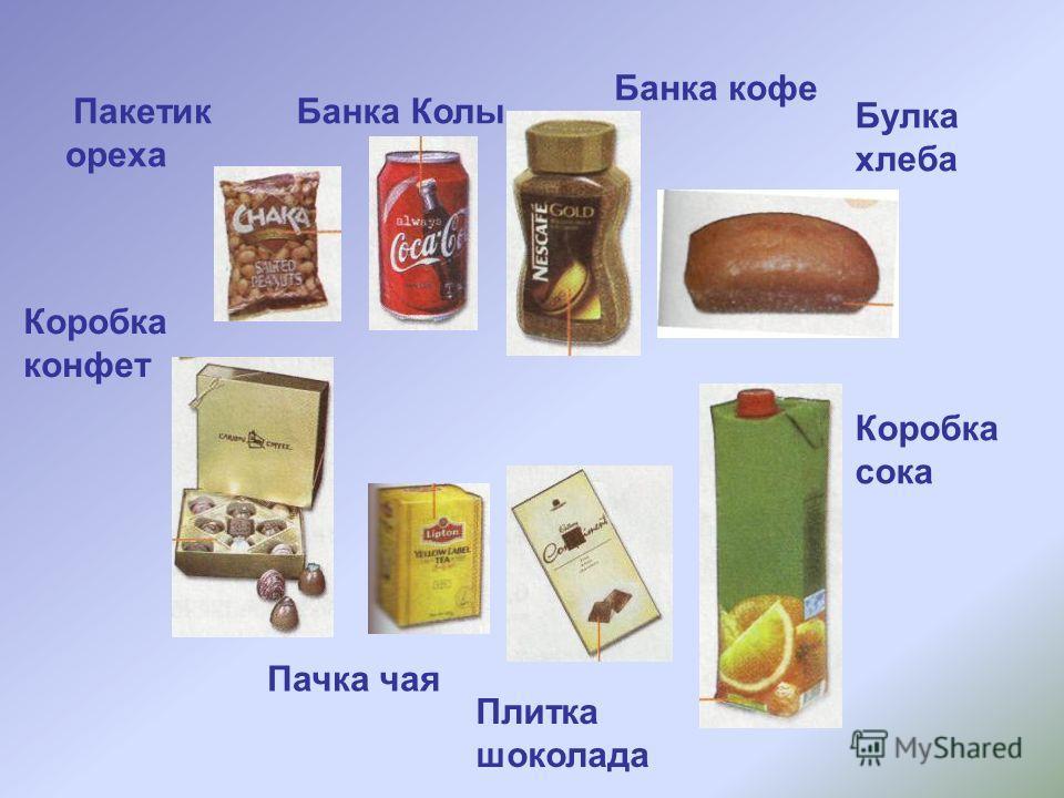 Пакетик ореха Банка Колы Банка кофе Булка хлеба Коробка сока Коробка конфет Пачка чая Плитка шоколада