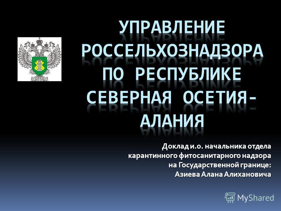 Доклад и.о. начальника отдела карантинного фитосанитарного надзора на Государственной границе: Азиева Алана Алихановича