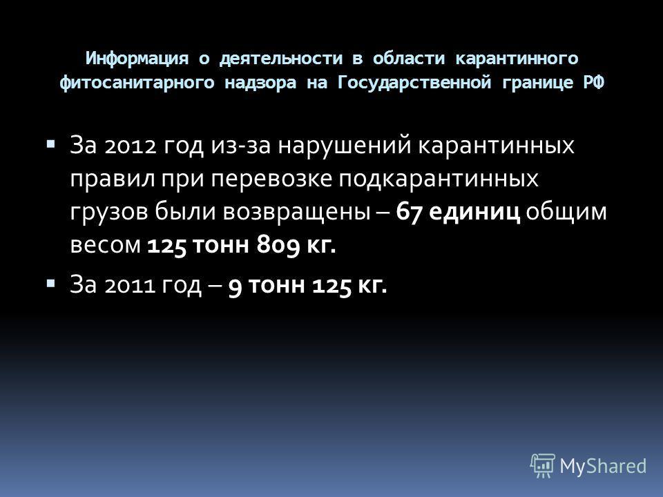 Информация о деятельности в области карантинного фитосанитарного надзора на Государственной границе РФ За 2012 год из-за нарушений карантинных правил при перевозке подкарантинных грузов были возвращены – 67 единиц общим весом 125 тонн 809 кг. За 2011