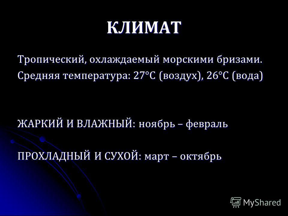 КЛИМАТ Тропический, охлаждаемый морскими бризами. Средняя температура: 27°С (воздух), 26°С (вода) ЖАРКИЙ И ВЛАЖНЫЙ: ноябрь – февраль ПРОХЛАДНЫЙ И СУХОЙ: март – октябрь
