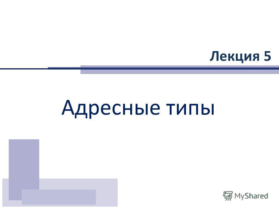 Лекция 5 Адресные типы